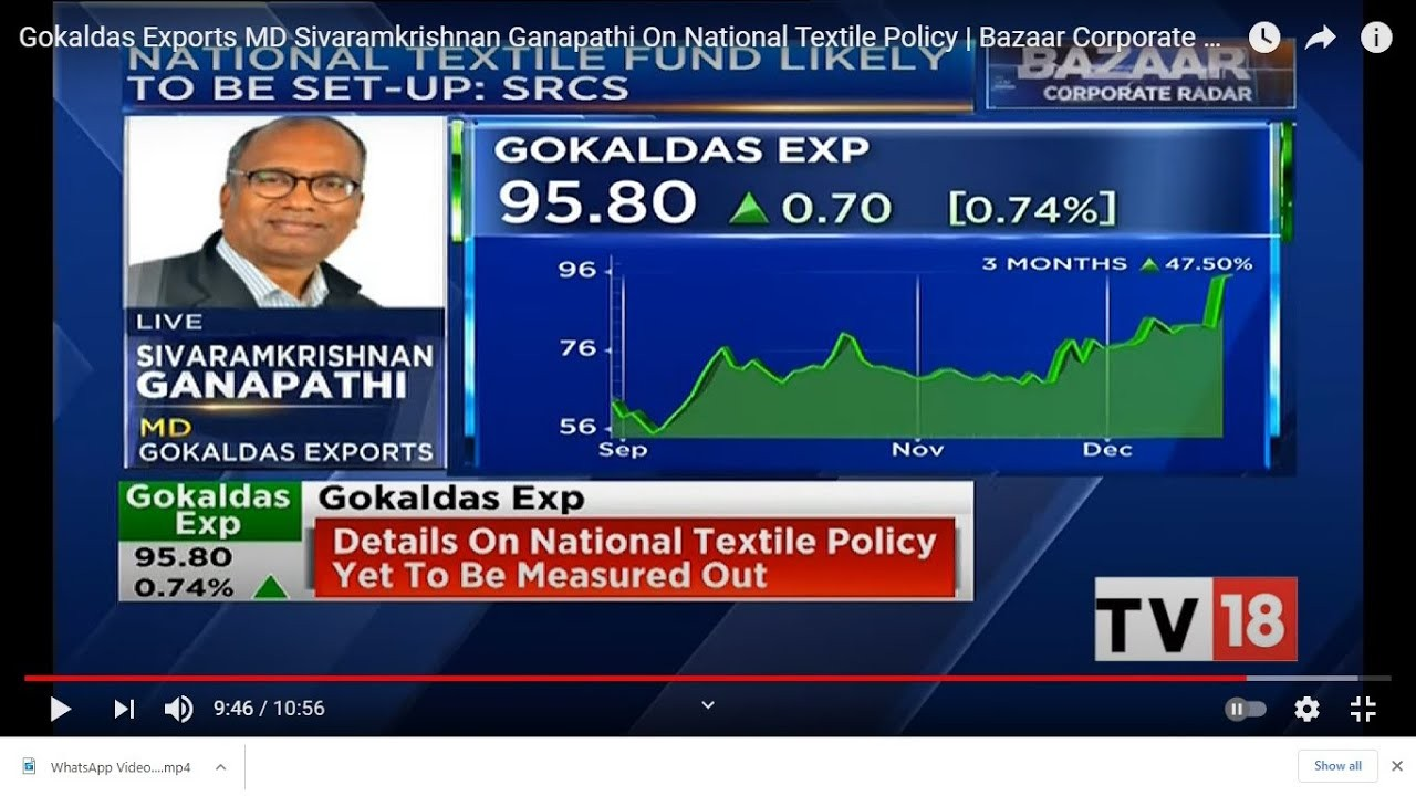 Gokaldas Exports MD Sivaramkrishnan Ganapathi's Views About  The New National Textile Policy Of Government Of India